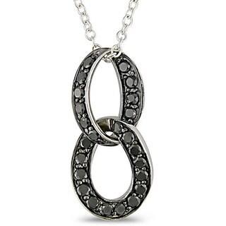 Haylee Jewels Sterling Silver 3/4ct TDW Black Diamond Loop Necklace