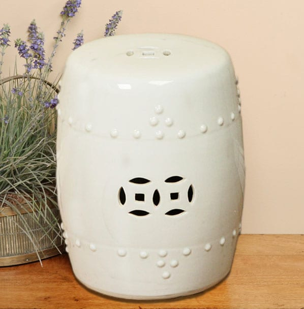 Handmade Off White Porcelain Garden Stool (China)