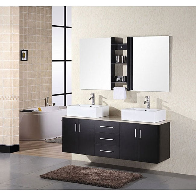 Design Element Contemporary Double Sink Bathroom Vanity With Vessel Sinks Free Shipping Today