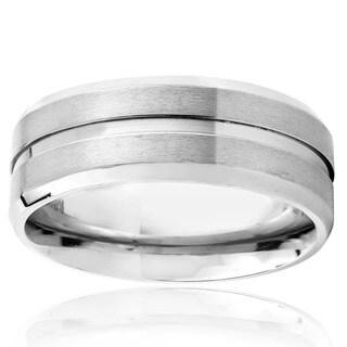 Men's Titanium Satin Finish Grooved Ring (7 mm)