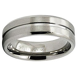 Men's Titanium Satin Finish Grooved Ring (7 mm)