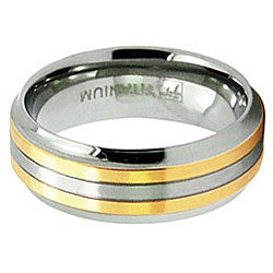 Men's Titanium Goldplated Grooved Ring (8 mm)