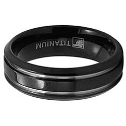 Men's Titanium Black-plated Grooved Ring (7 mm)