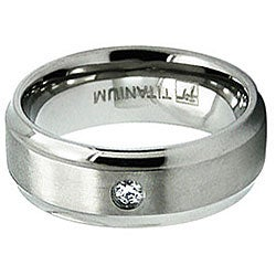 Men's Titanium Satin Finish Beveled Edge CZ Ring (8 mm)