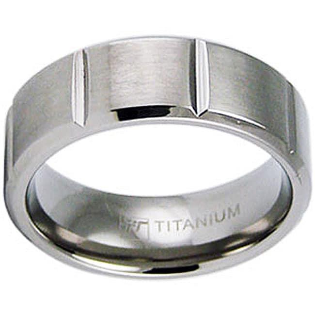 Men's Titanium Satin Finish Beveled Edge Grooved Ring