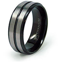 Men's Titanium Black Plated Grooved Ring