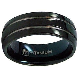 Men's Titanium Black-plated Grooved Ring (8 mm)
