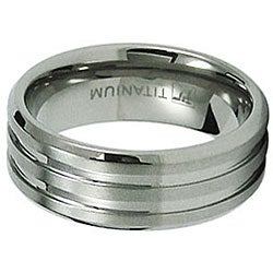 Men's Titanium Satin Finish and Polished Grooved Ring (8 mm)