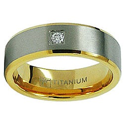 Men's Titanium Goldplated Satin Finish CZ Ring
