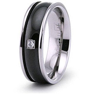 Men's Titanium Black Plated Cubic Zirconia Ring
