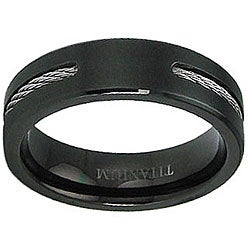 Men's Titanium Black-plated Steel Cable Inlay Ring