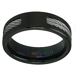 Men's Black Plated Titanium Cable Inlay Ring