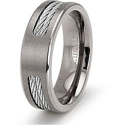Men's Titanium Double Steel Cable Inlay Ring