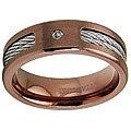 Men's Rose Goldplated Titanium Clear CZ Cable Inlay Band