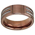 Men's Rose Goldplated Titanium Cable Inlay Band