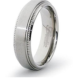 Men's Titanium Satin Finish Milligrain Ring