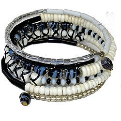 Five Turn Bone Black/ White Bracelet (India)
