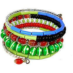 Five Turn Bone Green/ Blues Bracelet (India)