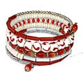Five Turn Bone Red/ White Bracelet (India)