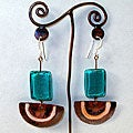 Semicircle Copper and Blue Glass Earrings (Chile)