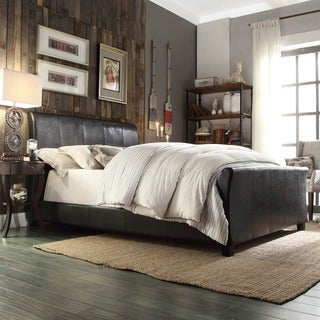 INSPIRE Q Tuscany Villa Dark Brown Upholstered Sleigh Bed
