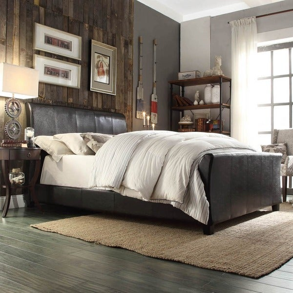 Tuscany Villa Dark Brown Upholstered Sleigh Bed