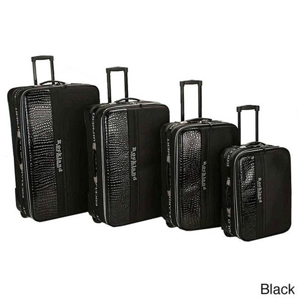 Rockland Polo Crocodile 4-piece Luggage Set