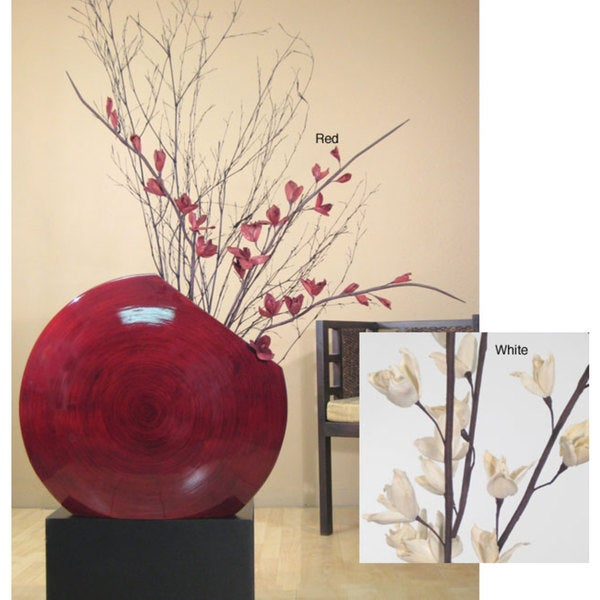 Red Bamboo Circular Vase with Dried Florals (Stand Not Included) 5142592