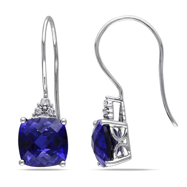 Miadora 10k White Gold Created Sapphire and Diamond Earrings