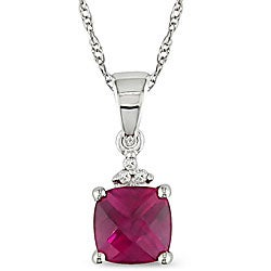 Miadora 10k Gold 1/10ct TDW Diamond/ Created Ruby Necklace