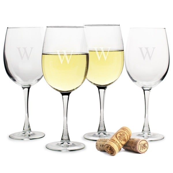 Personalized White Wine Glasses Set Of 4 Overstock