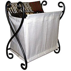 Iron Magazine Rack wtih Canvas Lining