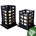 Square Pillar Black 9-inch Candle Holders