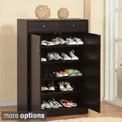 Furniture of America Five Shelf Shoe Cabinet with Two Upper Storage Bins