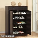 Five Shelf Shoe Cabinet with Two Upper Storage Bins