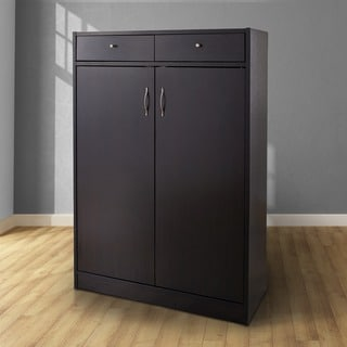 Furniture of America Five Shelf Shoe Cabinet with Two Upper Storage Bins