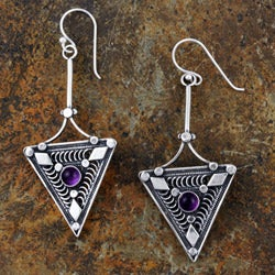 Sterling Silver 'Trigon' Earrings (Israel)