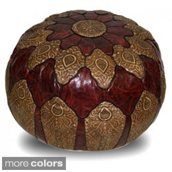 Genuine Leather Mosaic Ottoman (Morocco)