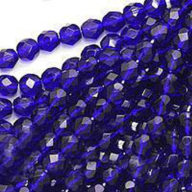 Beadaholique Czech Fire Polish 6-mm Round Cobalt Blue Beads (50)