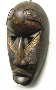 Boule Sese Wood, Brass Mask , Handmade in Ghana