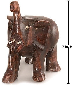 Carved Wood African Elephant Statue(Ghana)