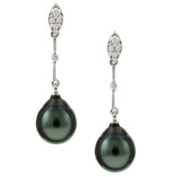 Kabella 14K White Gold 8-8.5mm Tahitian Pearl Diamond Earrings