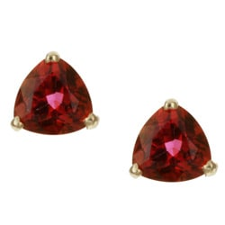 Kabella 14k Yellow Gold Peony Topaz Trillion-cut Stud Earrings