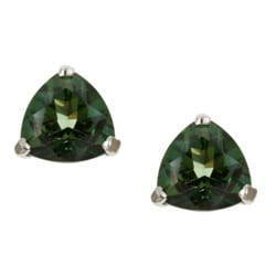 Kabella 14K White Gold Emerald Envy Topaz Trillion Cut Stud Earr