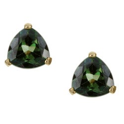 Kabella 14K Yellow Gold Emerald Envy Topaz Trillion Cut Stud Ear