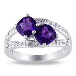 Miadora Sterling Silver Amethyst and Diamond Ring