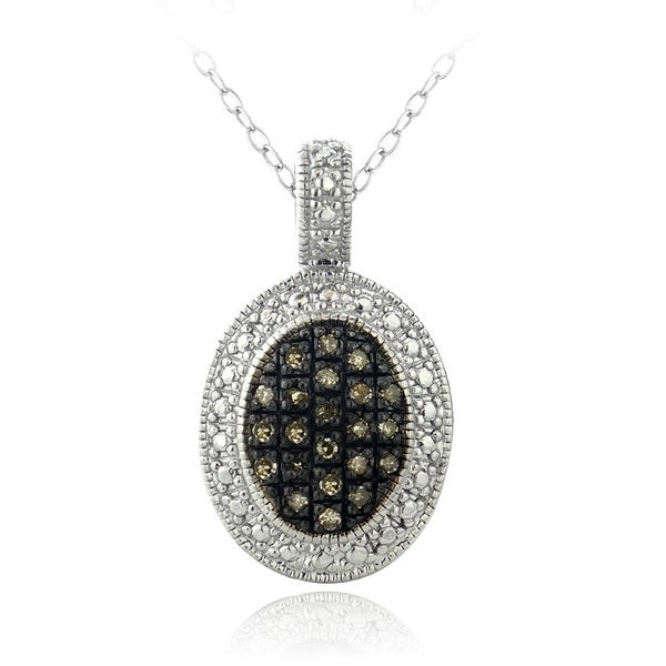 DB Designs Sterling Silver 1 1/10ct TDW Brown Diamond Oval Necklace
