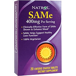 Natrol SAMe Mood Enhancer 400mg Tablets (Pack of 2 20-count Bottles)