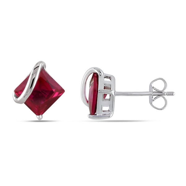 Miadora 10k White Gold Square Created Ruby Earrings 5161419