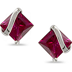 Miadora 10k White Gold Square Created Ruby Earrings